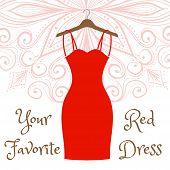 The little red dress hanging on a hanger. Cocktail dress. Evening festive attire. Fashion week vector illustration. Handdrawing mandala on background. poster