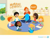 Laughing redhead teacher asks children questions and encourage them during morning lesson in preschool classroom. Pre-primary school education concept. Vector illustration for poster, advertisement. poster