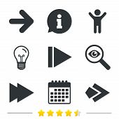 Arrow icons. Next navigation arrowhead signs. Direction symbols. Information, light bulb and calendar icons. Investigate magnifier. Vector poster