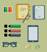 Stationery: The sheets of the planner in a cute polka dots. To Do Lists with little hearts. Stiсkers. Markers. Dark blue glasses. Pencils. Clips. Mobile phone. Smartphone. Vector illustration. poster