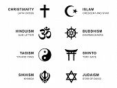 World religion symbols. Eight signs of major religious groups and religions. Christianity, Islam, Hinduism, Buddhism, Taoism, Shinto, Sikhism and Judaism, with English labeling. Illustration. Vector. poster