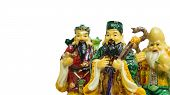 Still believe of Chinese lucky gods Fu Lu Shou statues. Isolated of Fu Lu Shou Symbol of wealth good luck prosperity. poster
