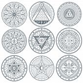 Mystery, witchcraft, occult, alchemy, mystical vintage gothic vector tattoo symbols. Mystical masonic symbols set illustration poster