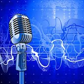 Professional microphone in beams of blue light & sound wave poster