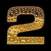Gold metal three-dimensional alphabet symbol - digit 2. Covered with drops of clear water on glossy metal. Isolated on black poster