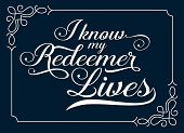 I Know my Redeemer lives Calligraphy Vector Typography Bible Verse Design art with white frame on dark blue background poster