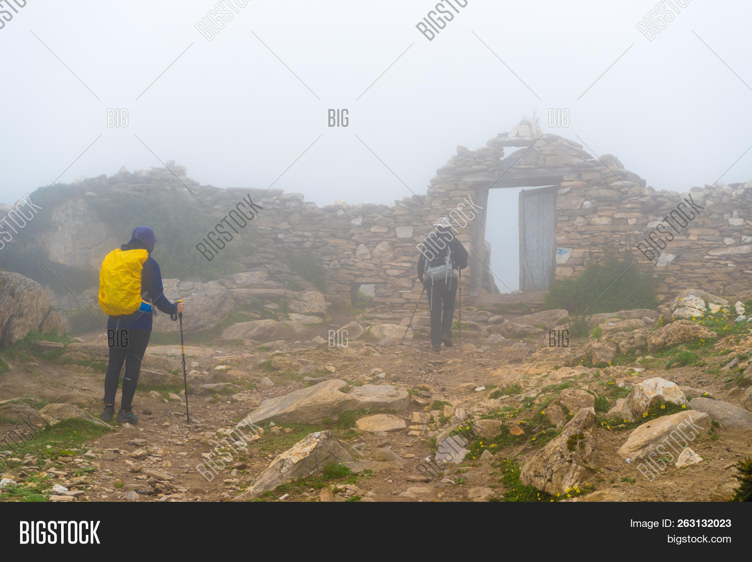 Backpackers On Foggy Image & Photo (Free Trial)   Bigstock