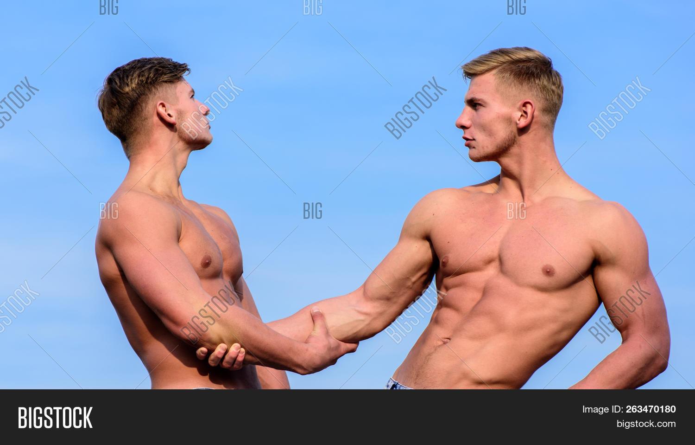 Sexy Torso Attractive Macho. Attractive Twins. Men Muscular Athlete  Bodybuilder Show Muscles. Strong