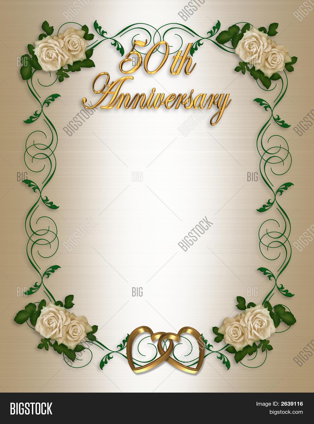 50Th Wedding Anniversary Invitation Image & Photo   Bigstock