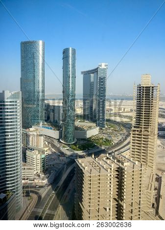 Abu Dhabi, Uae - June 11, 2018: Epic Top View Shot Of Al Reem Island Towers And Landscape On A Clear