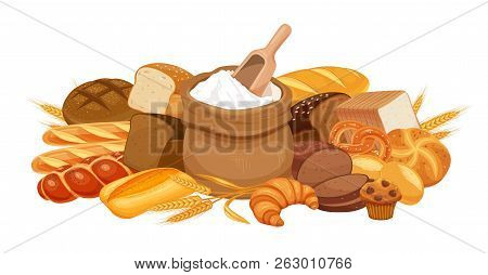 Bakery Products Banner, Vector Illustration. Bread And Bag Of Flour. Rye, Whole Grain And Wheat Brea
