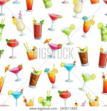 Alcoholic Cocklails Seamless Pattern. Summer Alcoholic Drinks. Holiday And Beach Party Vector Backgr