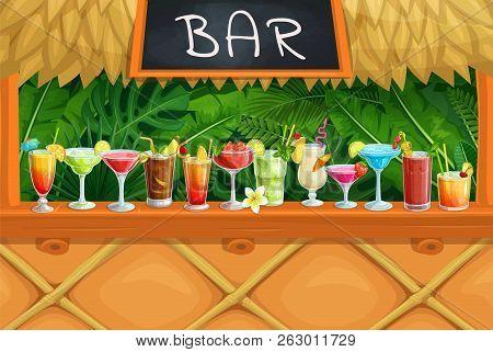 Beach Tiki Bar, Alcoholic Cocktails, Vector Illustration. Hawaiian Party Luau. Long Island, Bloody M