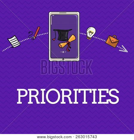 Handwriting text Priorities. Concept meaning Things that are regarded as more important urgent than others poster