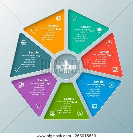 Vector Abstract 3d Paper Infographic Elements.heptagon.circular Infographics
