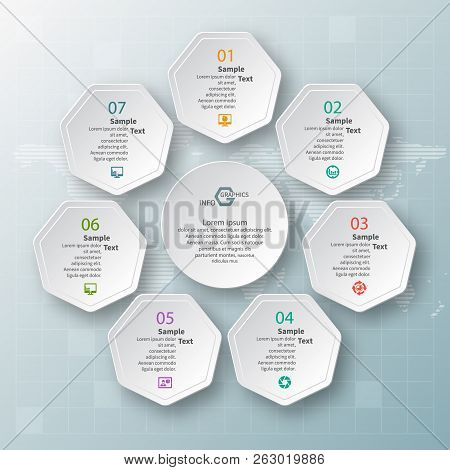 Vector Abstract 3d Paper Infographic Elements.heptagon Infographics.
