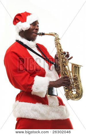 black santa claus playing sax over white background