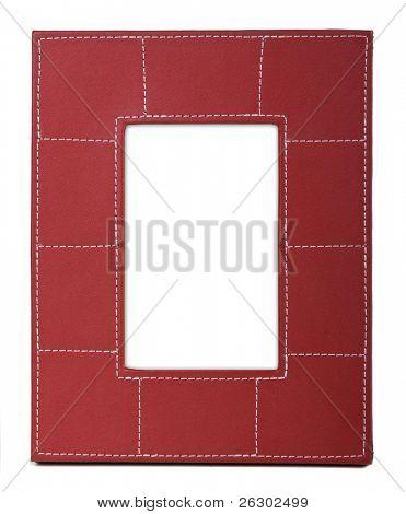 stylish red leather photo frame over white background