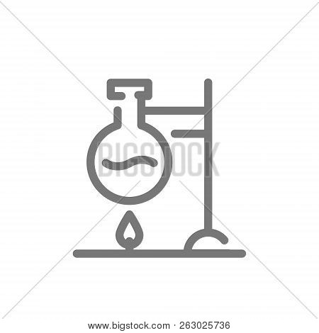 Simple Chemical Reaction Line Icon. Flask Over Fire Symbol And Sign Illustration Design. Isolated On