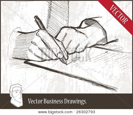 Vector illustration.  closeup of masculine hand holding ballpoint over business document.