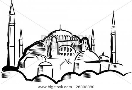 Hagia Sofia. Vector illustration.