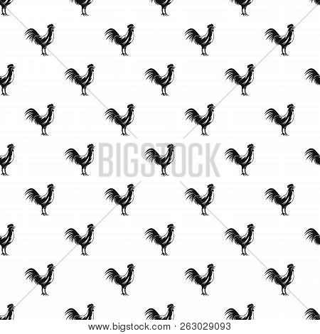 Gallic Rooster Pattern Seamless In Simple Style Illustration