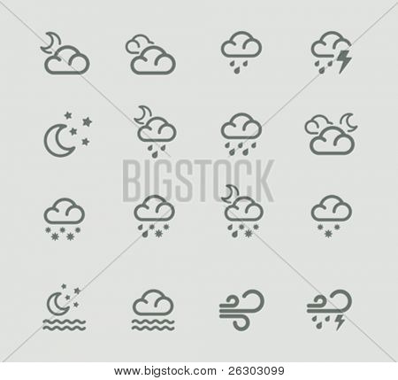 Vector weather forecast pictogram set. Part 2