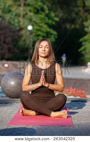 Relaxed Woman Practicing Yoga And Yoga Meditation , Philosophy Of Life Something Good For Yourself A