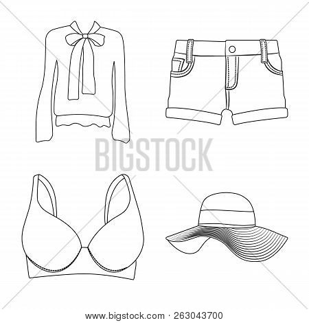 Vector Illustration Of Woman And Clothing Icon. Collection Of Woman And Wear Stock Vector Illustrati