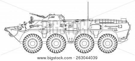 Soviet Armored Personnel Carrier. Vector Outline Image For Illustration.