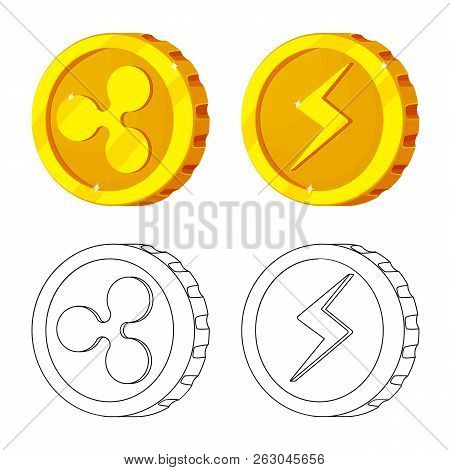 Isolated Object Of Cryptocurrency And Coin Logo. Set Of Cryptocurrency And Crypto Stock Symbol For W