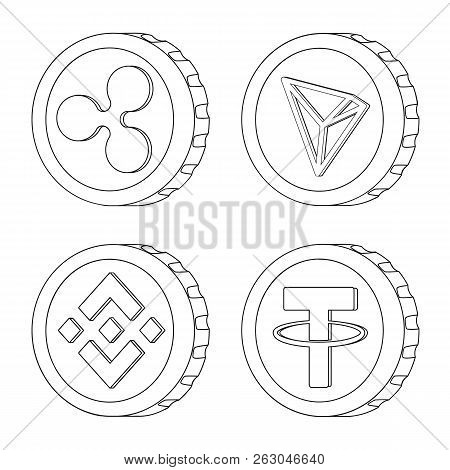 Vector Illustration Of Cryptocurrency And Coin Icon. Set Of Cryptocurrency And Crypto Stock Vector I
