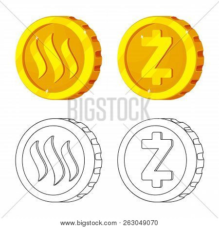 Vector Illustration Of Cryptocurrency And Coin Sign. Collection Of Cryptocurrency And Crypto Stock S