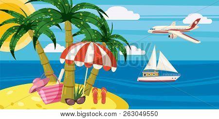 Sea Rest Banner Horizontal Concept. Cartoon Illustration Of Sea Rest Banner Horizontal For Web