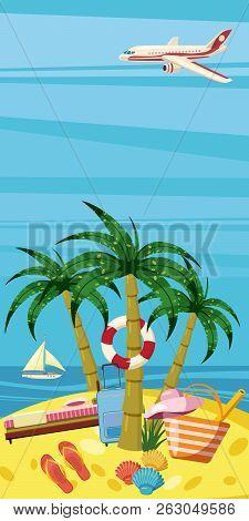 Sea Rest Banner Vertical Concept. Cartoon Illustration Of Sea Rest Banner Vertical For Web