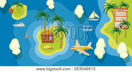 Sea Rest Banner Horizontal Top View. Cartoon Illustration Of Sea Rest Banner Horizontal Top View For