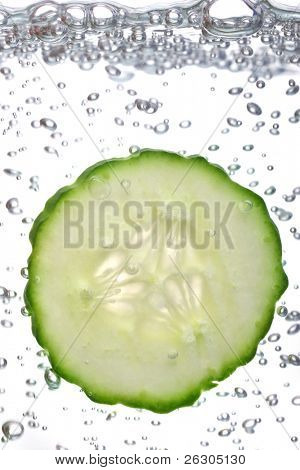 fresh cucumber slices with water bubbles