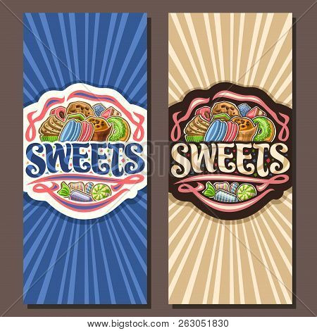 Vector Banners For Sweets, Leaflets With Pile Of Cartoon Gourmet Baked Goods, Original Brush Typefac