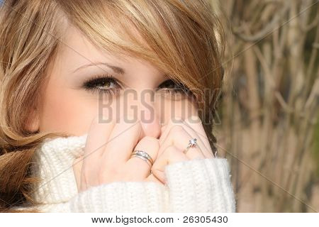beautiful woman on a cold winters day
