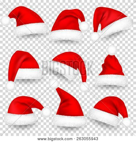 Christmas Santa Claus Hats With Fur And Shadow Set. New Year Red Hat Isolated On Transparent Backgro