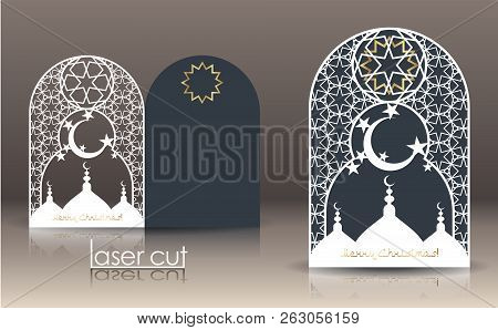 3d Postcard Layout With Islamic Oriental Pattern For Laser Cutting Paper. Indian Heritage, Arabesque