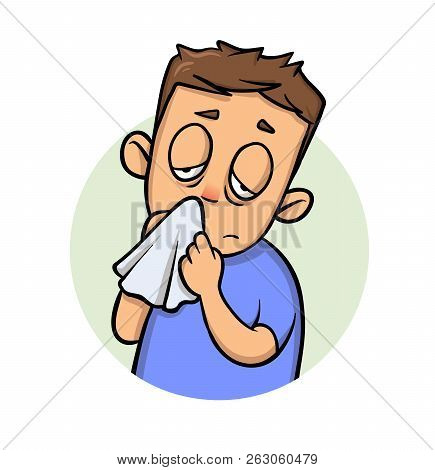 Running Nose. Sick Boy With A Handkerchief. Cartoon Design Icon. Flat Vector Illustration. Isolated