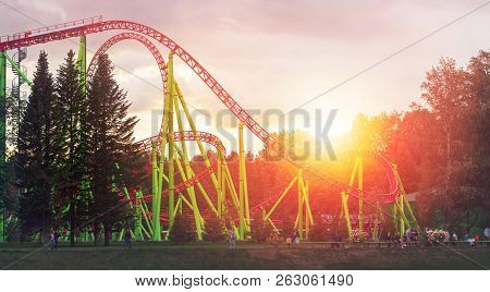 Roller Coaster In The Central Atractions Park At The Evening Time In Saint-petersburg