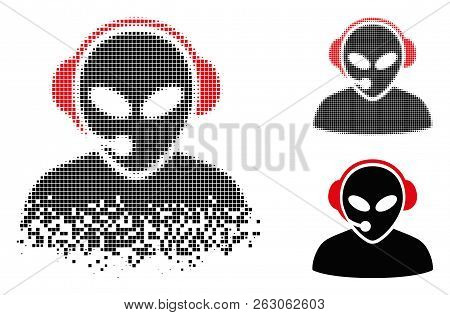 Alien Call Center Icon In Dispersed, Pixelated Halftone And Undamaged Solid Versions. Elements Are C