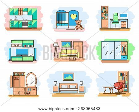 Modern Linear Pictogram Of Home Room And Types Furniture. Set Of Concept Line Icons Home Room And Ty