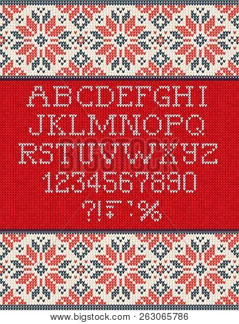 Ugly Sweater Season Winter Sale Poster. Knitted Background Pattern Scandinavian Ornaments.