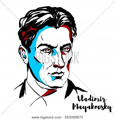 Moscow, Russia - June 25, 2018: Vladimir Mayakovsky Engraved Vector Portrait With Ink Contours. Russ