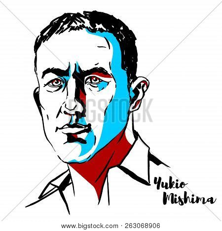 Moscow, Russia - June 25, 2018: Yukio Mishima Engraved Vector Portrait With Ink Contours. Japanese A