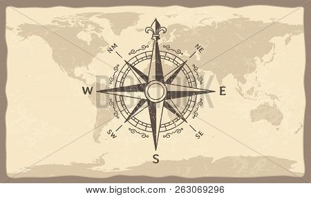 Antique Compass On World Map. Vintage Geographic History Maps With Marine Compasses Arrows Vector Il