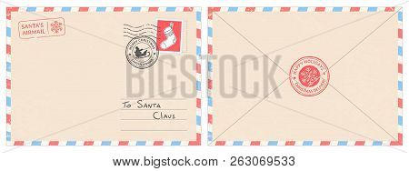 Dear Santa Claus Mail Envelope. Christmas Surprise Letter, Child Postcard With North Pole Postmark C